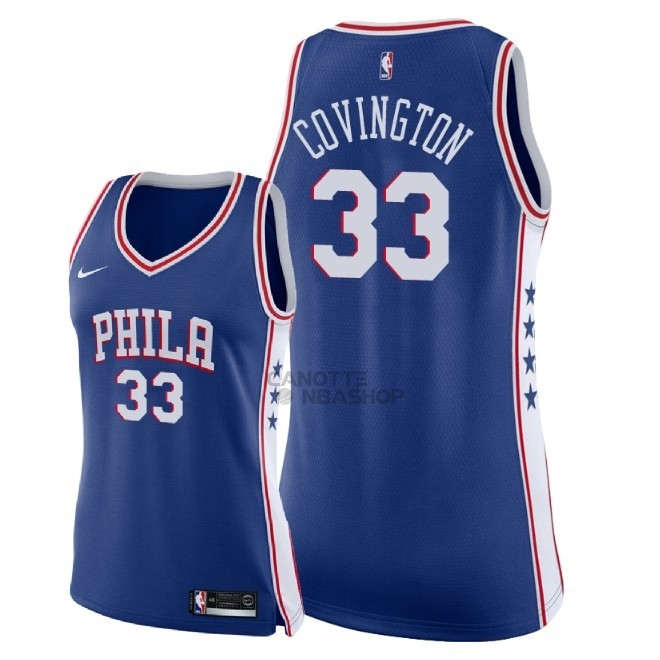 Vendite Maglia NBA Donna Philadelphia Sixers NO.33 Robert Covington Blu Icon 2018