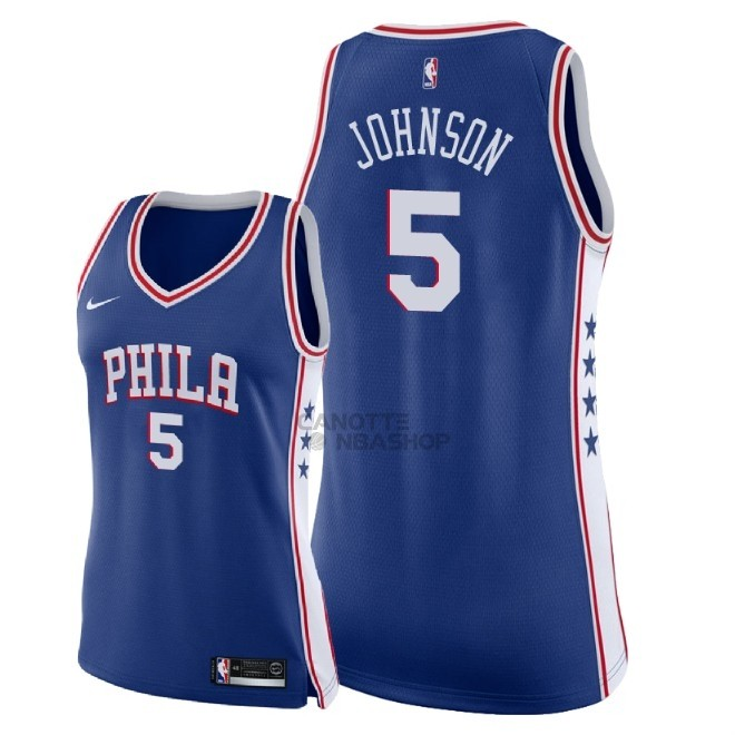 Vendite Maglia NBA Donna Philadelphia Sixers NO.5 Amir Johnson Blu Icon 2018