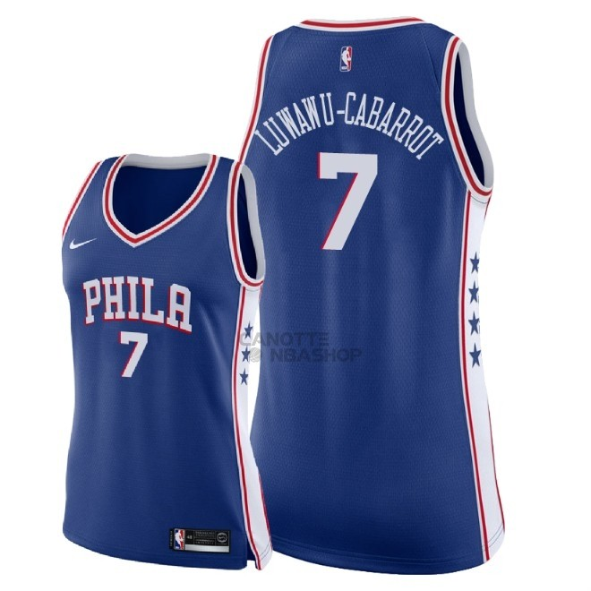 Vendite Maglia NBA Donna Philadelphia Sixers NO.7 Timothe Luwawu Cabarrot Blu Icon 2018