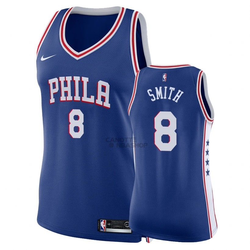 Vendite Maglia NBA Donna Philadelphia Sixers NO.8 Zhaire Smith Blu Icon 2018