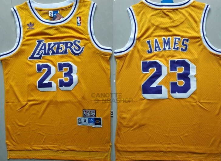Vendite Maglia NBA Los Angeles Lakers NO.23 Lebron James Retro Giallo
