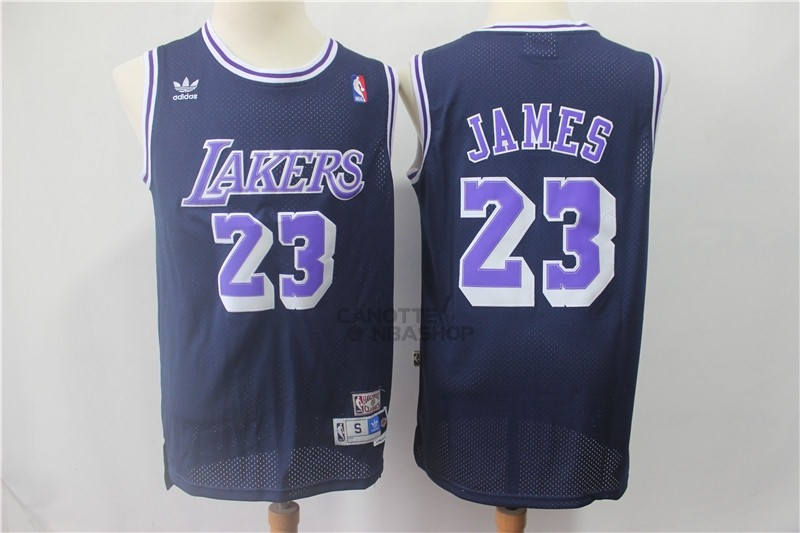Vendite Maglia NBA Los Angeles Lakers NO.23 Lebron James Retro Nero Porpora