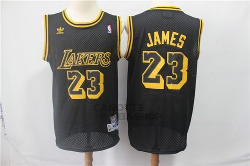 Vendite Maglia NBA Los Angeles Lakers NO.23 Lebron James Retro Nero