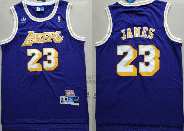 Vendite Maglia NBA Los Angeles Lakers NO.23 Lebron James Retro Porpora