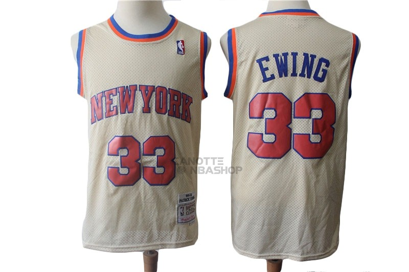 Vendite Maglia NBA New York Knicks NO.33 Patrick Ewing Retro Crema 1991-92