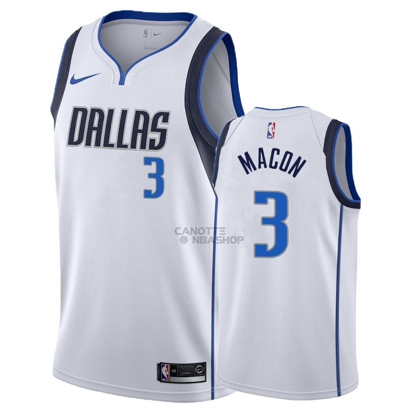 Vendite Maglia NBA Nike Dallas Mavericks NO.3 Daryl Macon Bianco Association 2018