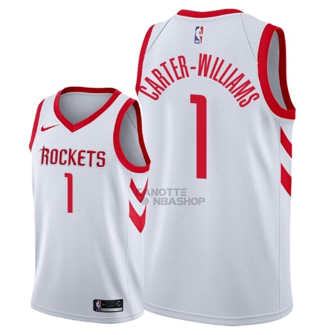 Vendite Maglia NBA Nike Houston Rockets NO.1 Michael Carter Williams Bianco Association 2018