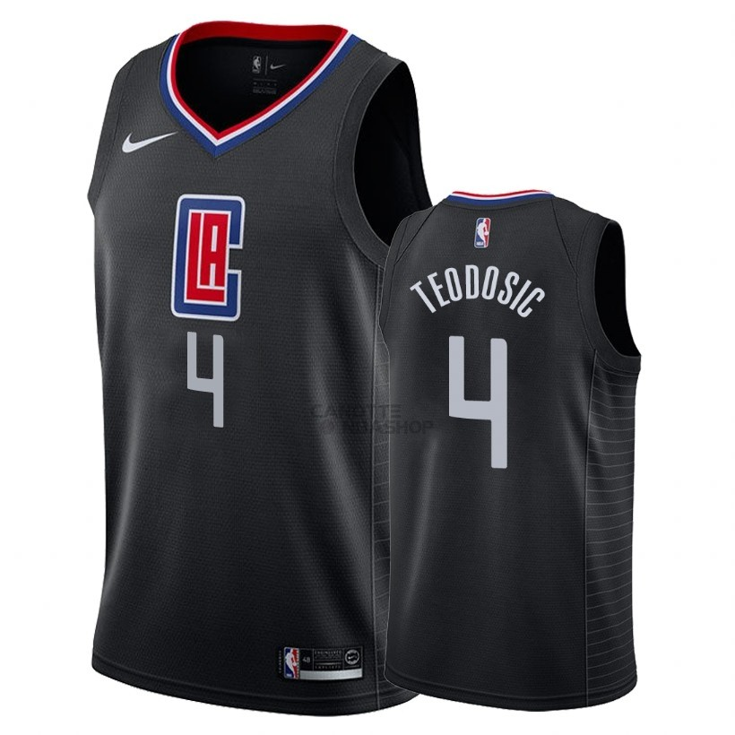 Vendite Maglia NBA Nike Los Angeles Clippers NO.4 Milos Teodisic Nero Statement 2018
