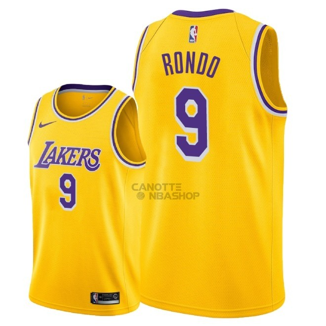 Vendite Maglia NBA Nike Los Angeles Lakers NO.9 Rajon Rondo Giallo Icon 2018-19