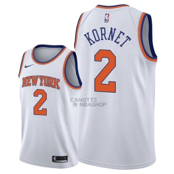 Vendite Maglia NBA Nike New York Knicks NO.2 Luke Kornet Bianco Association 2018