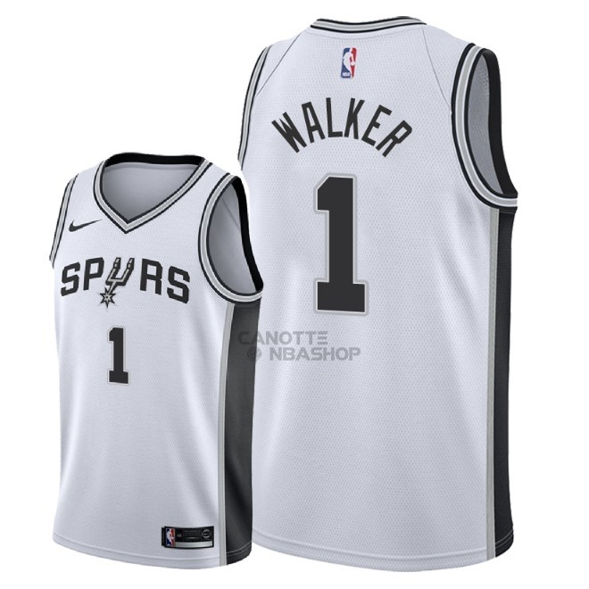 Vendite Maglia NBA Nike San Antonio Spurs NO.1 Lonnie Walker Bianco Association 2018