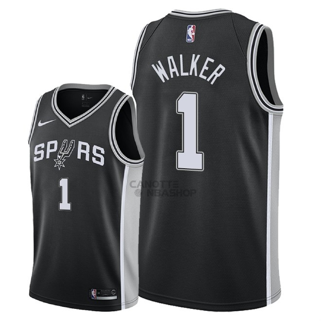 Vendite Maglia NBA Nike San Antonio Spurs NO.1 Lonnie Walker Nero Icon 2018