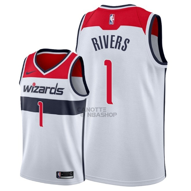Vendite Maglia NBA Nike Washington Wizards NO.1 Austin Rivers Bianco Association 2018