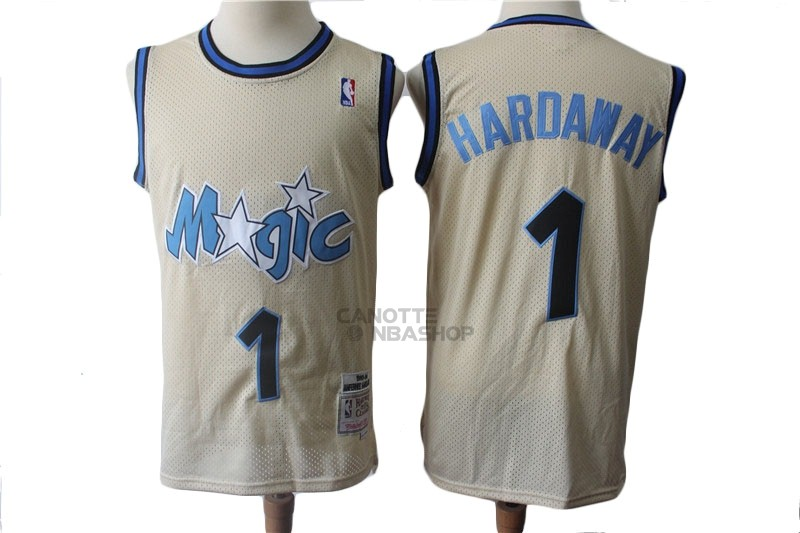 Vendite Maglia NBA Orlando Magic NO.1 Anfernee Hardaway Retro Crema 1993-94