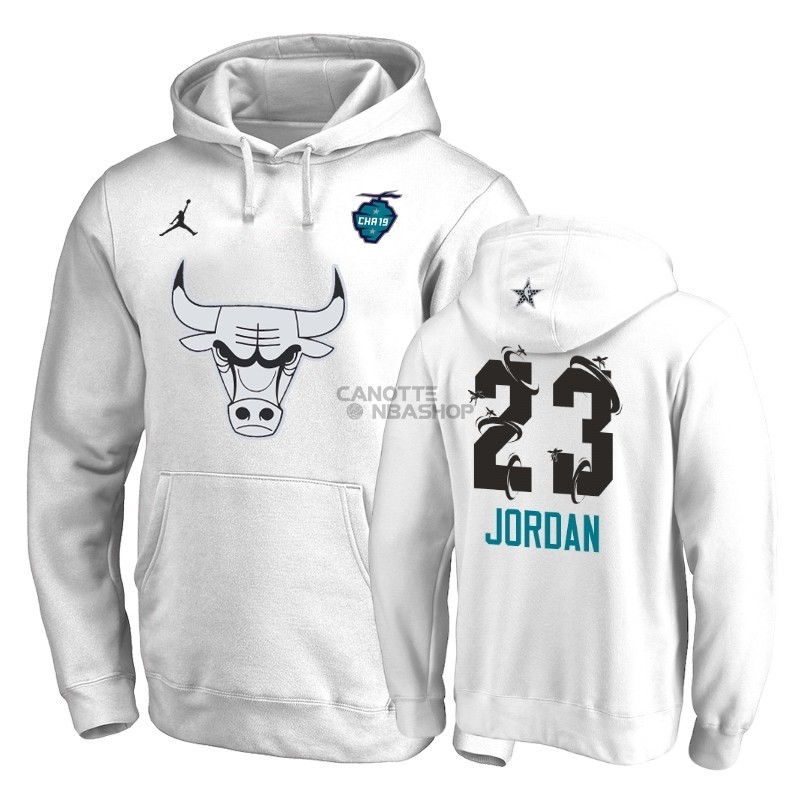 Vendite Felpe Con Cappuccio NBA 2019 All Star Chicago Bulls NO.23 Michael Jordan Bianco