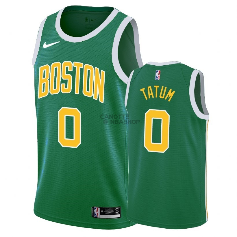 Vendite Maglia NBA Earned Edition Boston Celtics NO.0 Jayson Tatum Verde 2018-19