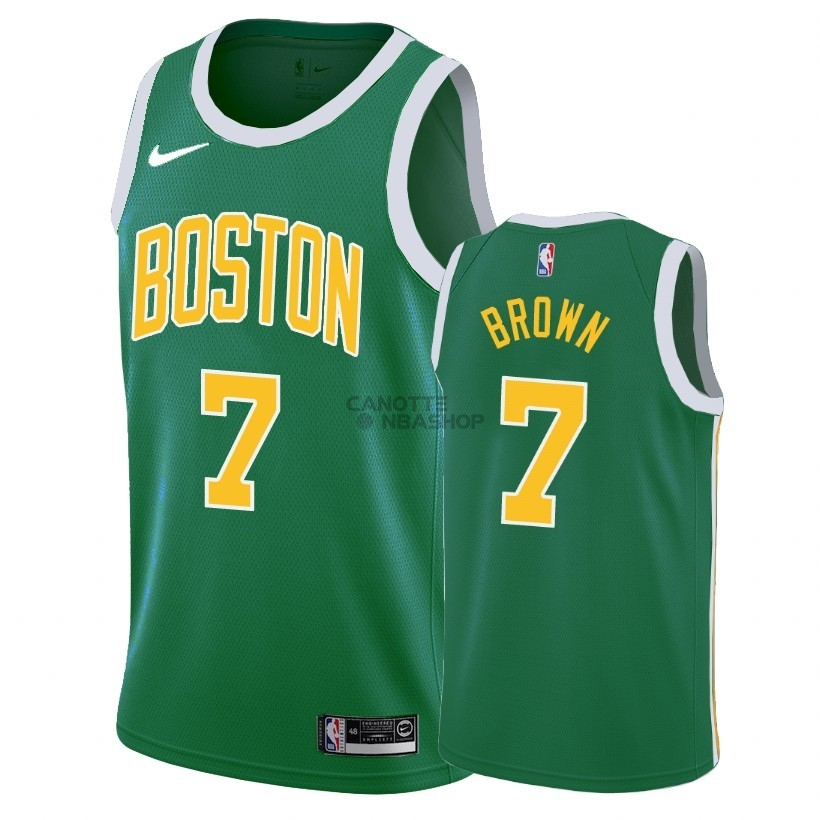Vendite Maglia NBA Earned Edition Boston Celtics NO.7 Jaylen Brown Verde 2018-19