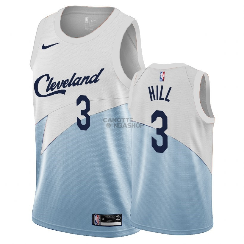 Vendite Maglia NBA Earned Edition Cleveland Cavaliers NO.3 George Hill Blu 2018-19