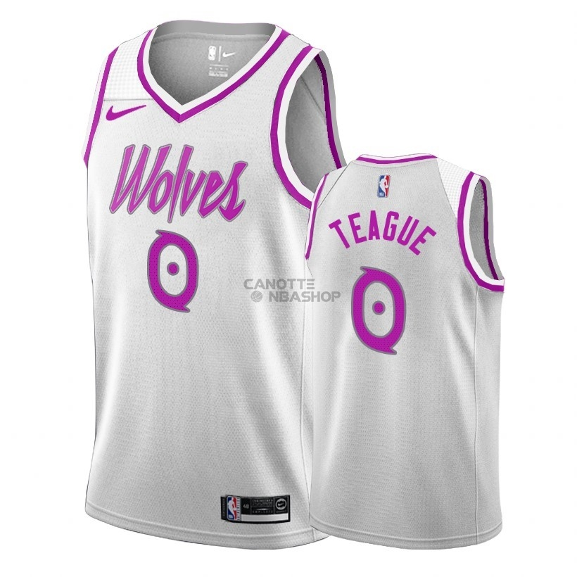 Vendite Maglia NBA Earned Edition Minnesota Timberwolves NO.0 Jeff Teague Bianco 2018-19