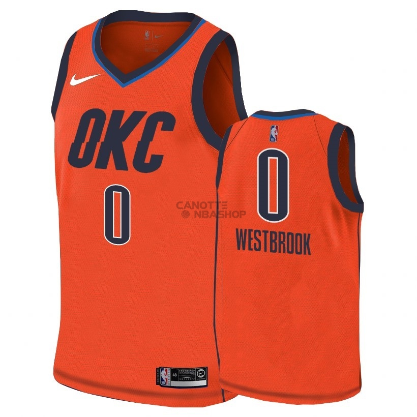 Vendite Maglia NBA Earned Edition Oklahoma City Thunder NO.0 Russell Westbrook Arancia 2018-19