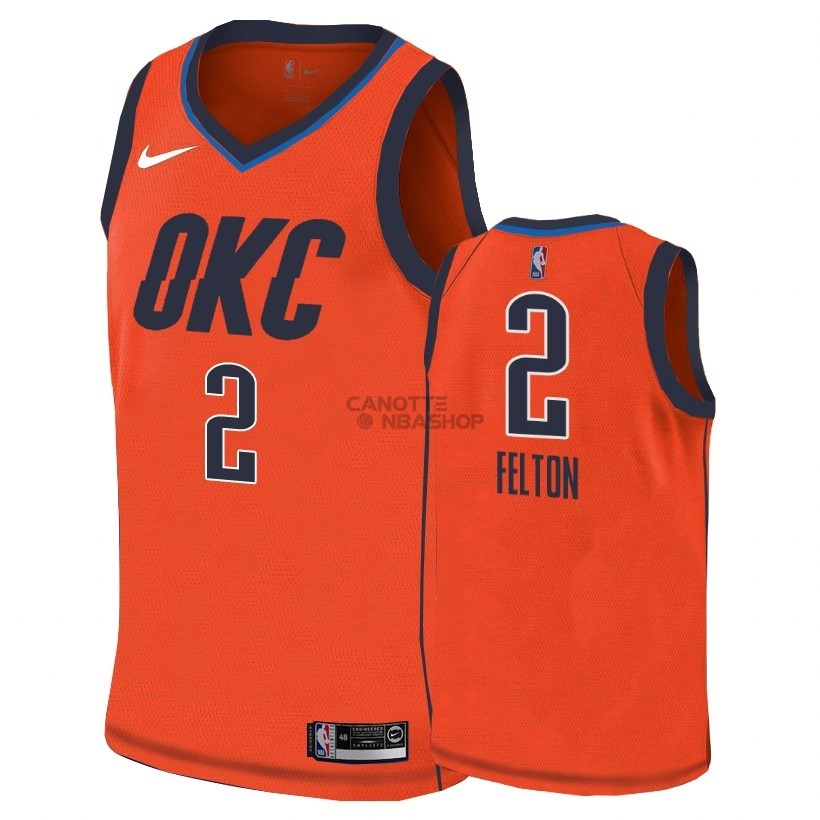 Vendite Maglia NBA Earned Edition Oklahoma City Thunder NO.2 Raymond Felton Arancia 2018-19