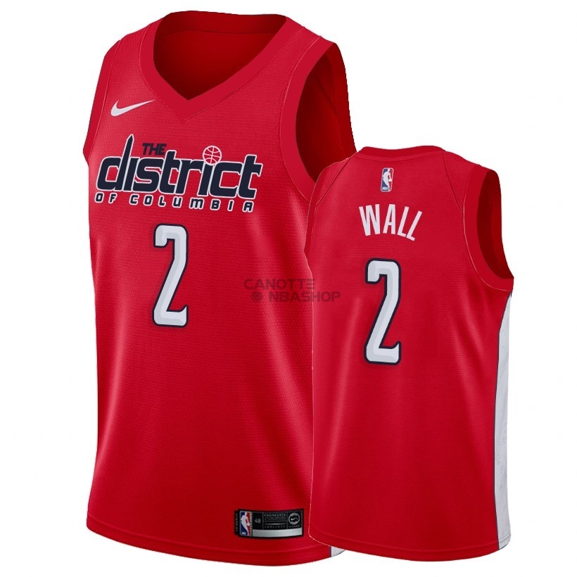 Vendite Maglia NBA Earned Edition Washington Wizards NO.2 John Wall Rosso 2018-19