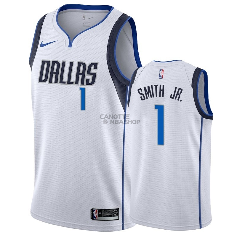 Vendite Maglia NBA Nike Dallas Mavericks NO.1 Dennis Smith Jr Bianco Association 2018-19
