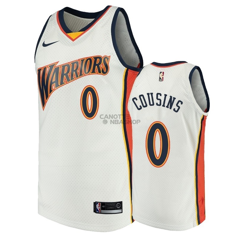 Vendite Maglia NBA Golden State Warriors NO.0 DeMarcus Cousins Bianco Throwback