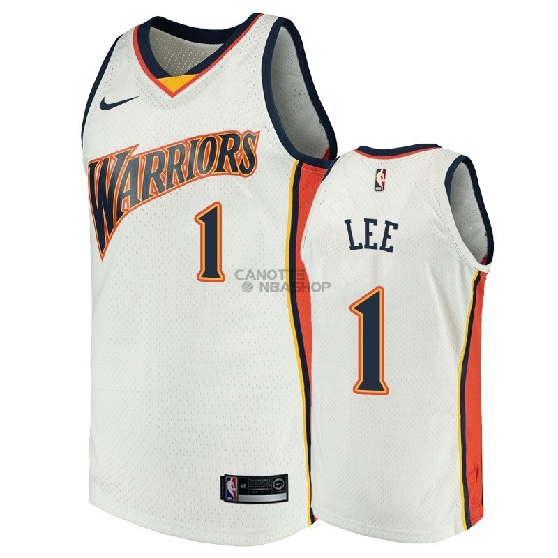 Vendite Maglia NBA Golden State Warriors NO.1 Damion Lee Bianco Throwback