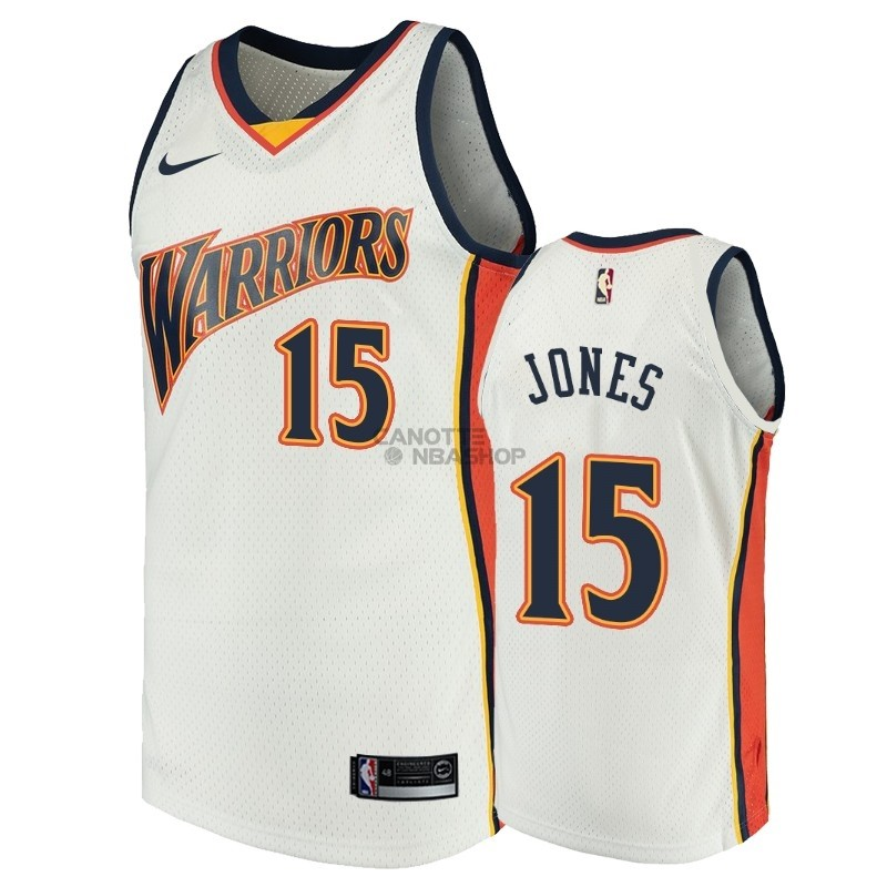 Vendite Maglia NBA Golden State Warriors NO.15 Damian Jones Bianco Throwback