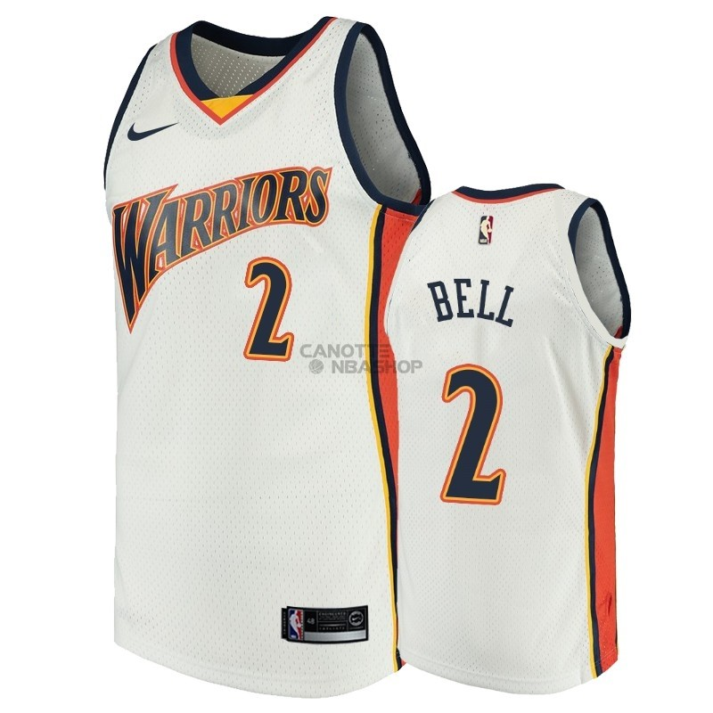 Vendite Maglia NBA Golden State Warriors NO.2 Jordan Bell Bianco Throwback