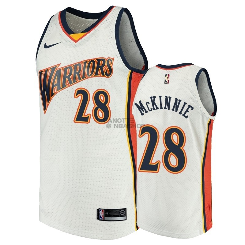 Vendite Maglia NBA Golden State Warriors NO.28 Alfonzo McKinnie Bianco Throwback