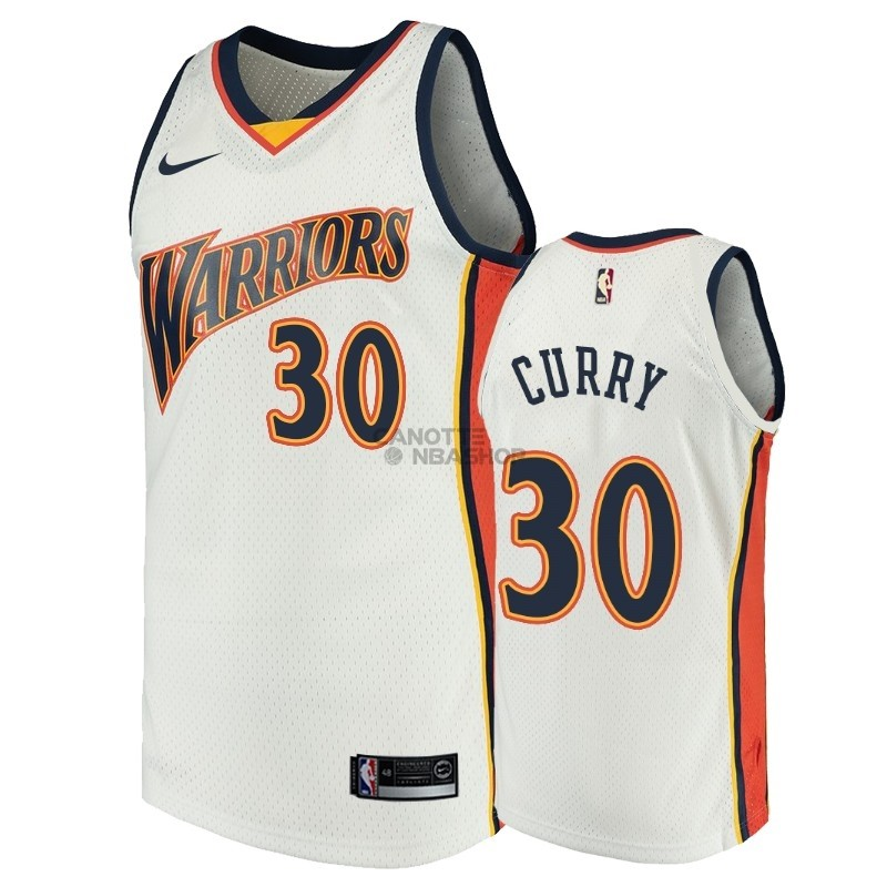 Vendite Maglia NBA Golden State Warriors NO.30 Stephen Curry Bianco Throwback