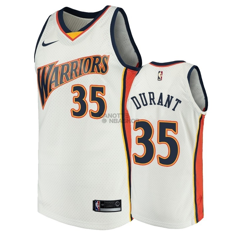 Vendite Maglia NBA Golden State Warriors NO.35 Kevin Durant Bianco Throwback