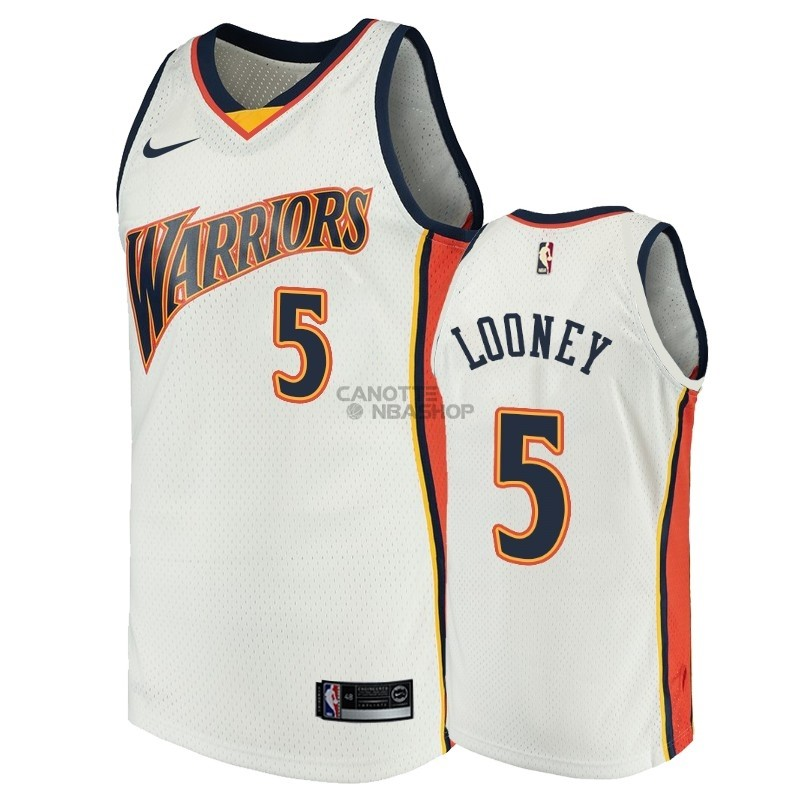 Vendite Maglia NBA Golden State Warriors NO.5 Kevon Looney Bianco Throwback