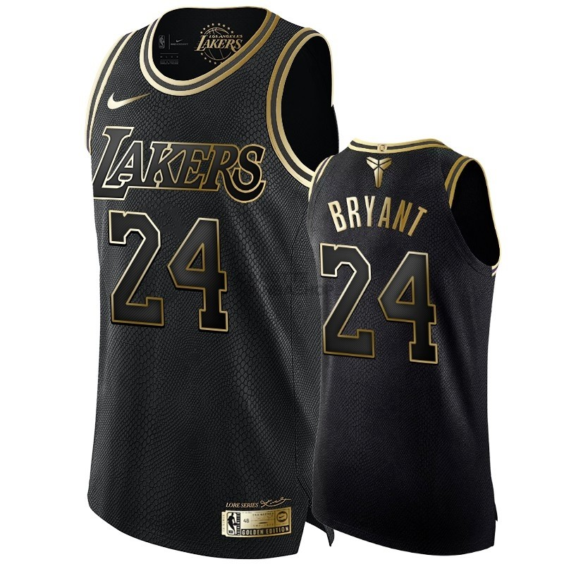 Vendite Maglia NBA Nike Los Angeles Lakers NO.24 Kobe Bryant Oro Nero Edition