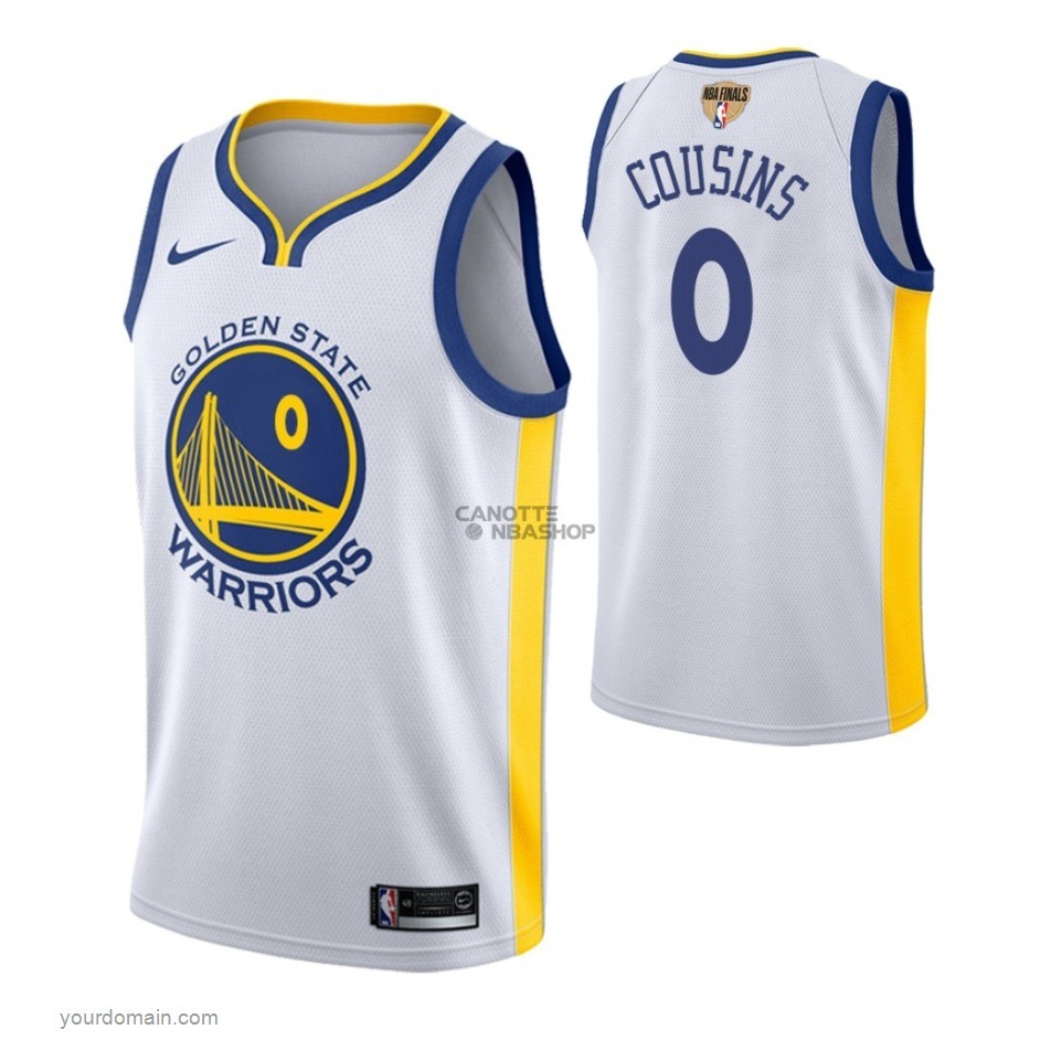 Vendite Maglia NBA Golden State Warriors 2019 Campionato Finali NO.0 DeMarcus Cousins Bianco Association