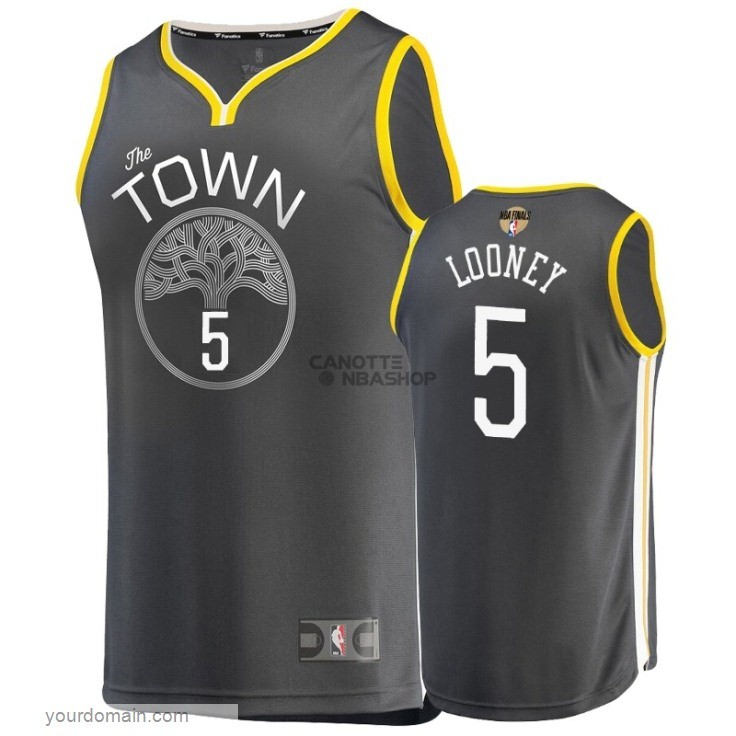 Vendite Maglia NBA Golden State Warriors 2019 Campionato Finali NO.5 Kevon Looney Grigio Statement