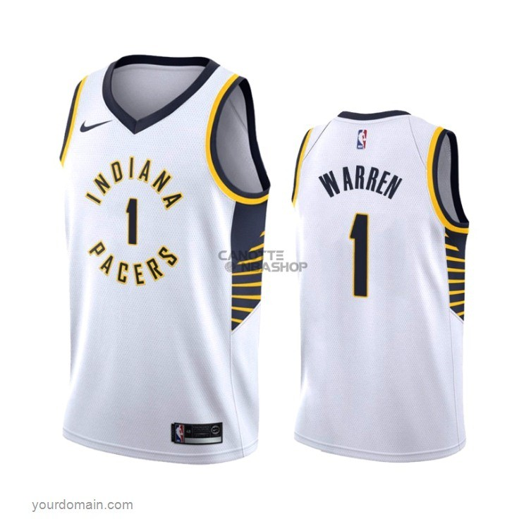 Vendite Maglia NBA Nike Indiana Pacers NO.1 T.J. Warren Gray Bianco Association 2019-20