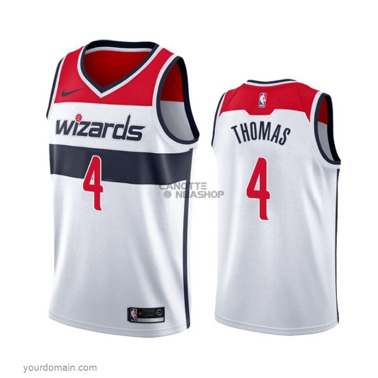 Vendite Maglia NBA Nike Washington Wizards NO.4 Isaiah Thomas Bianco Association 2019-20