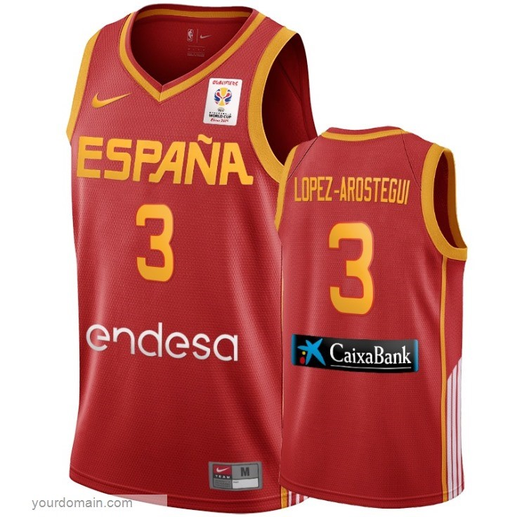 Vendite Coppa Mondo Basket FIBA 2019 Spain NO.3 Lopez Arostegui Vino Tinto