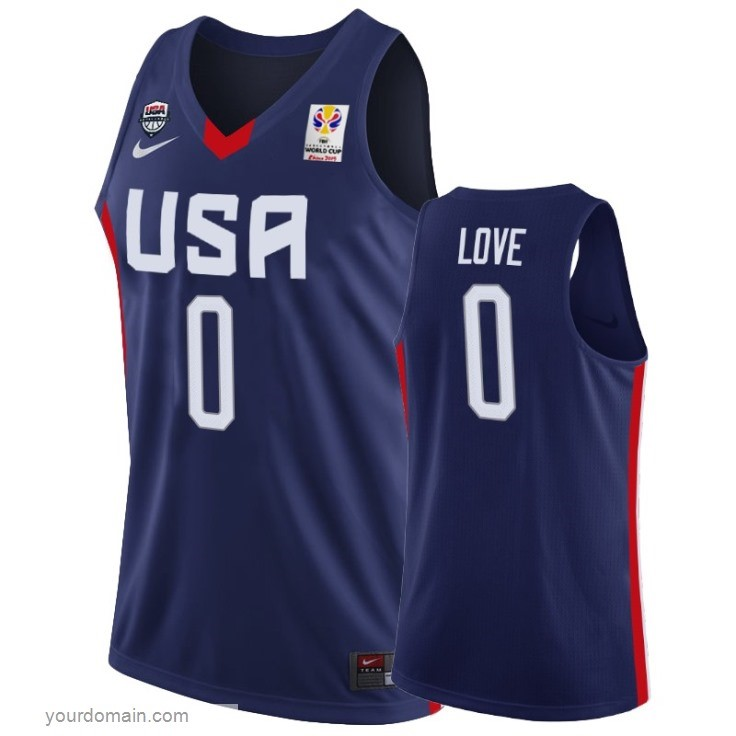 Vendite Coppa Mondo Basket FIBA 2019 USA NO.0 Kevin Love Marino