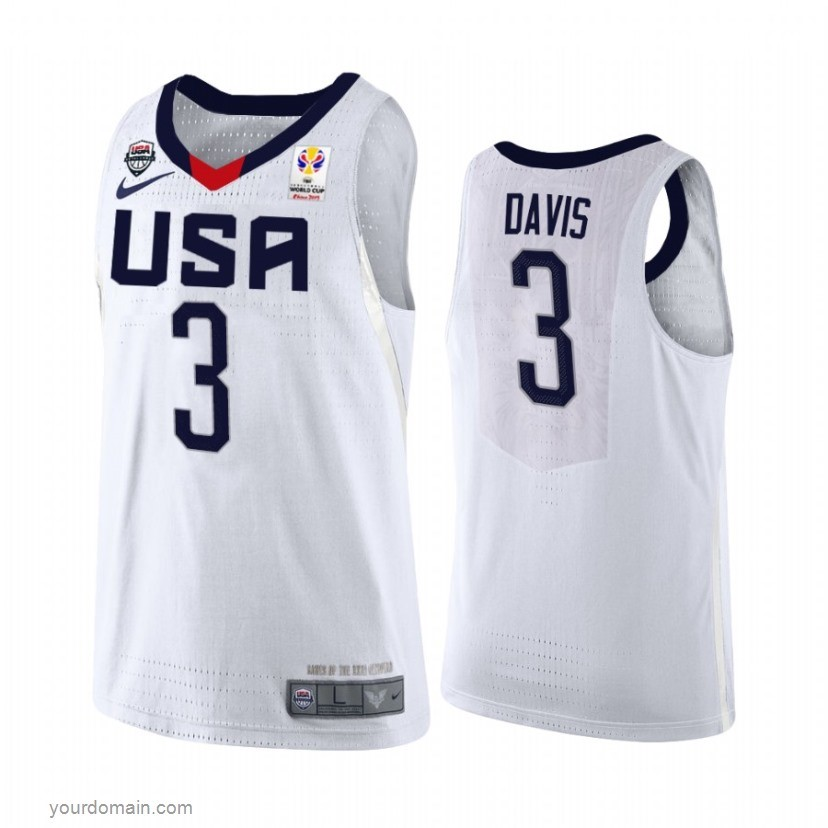Vendite Coppa Mondo Basket FIBA 2019 USA NO.3 Anthony Davis Bianco