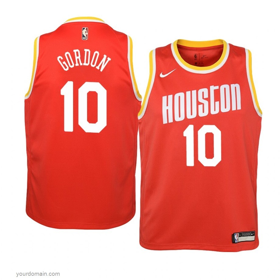 Vendite Maglia NBA Houston Rockets NO.10 Eric Gordon Orange Hardwood Classics 2019-20
