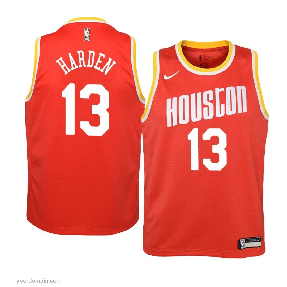 Vendite Maglia NBA Houston Rockets NO.13 James Harden Orange Hardwood Classics 2019-20