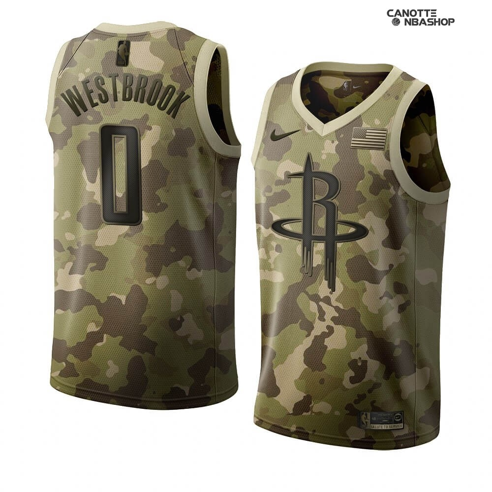 Vendite Maglia NBA Nike Houston Rockets NO.0 Russell Westbrook Camouflage 2019