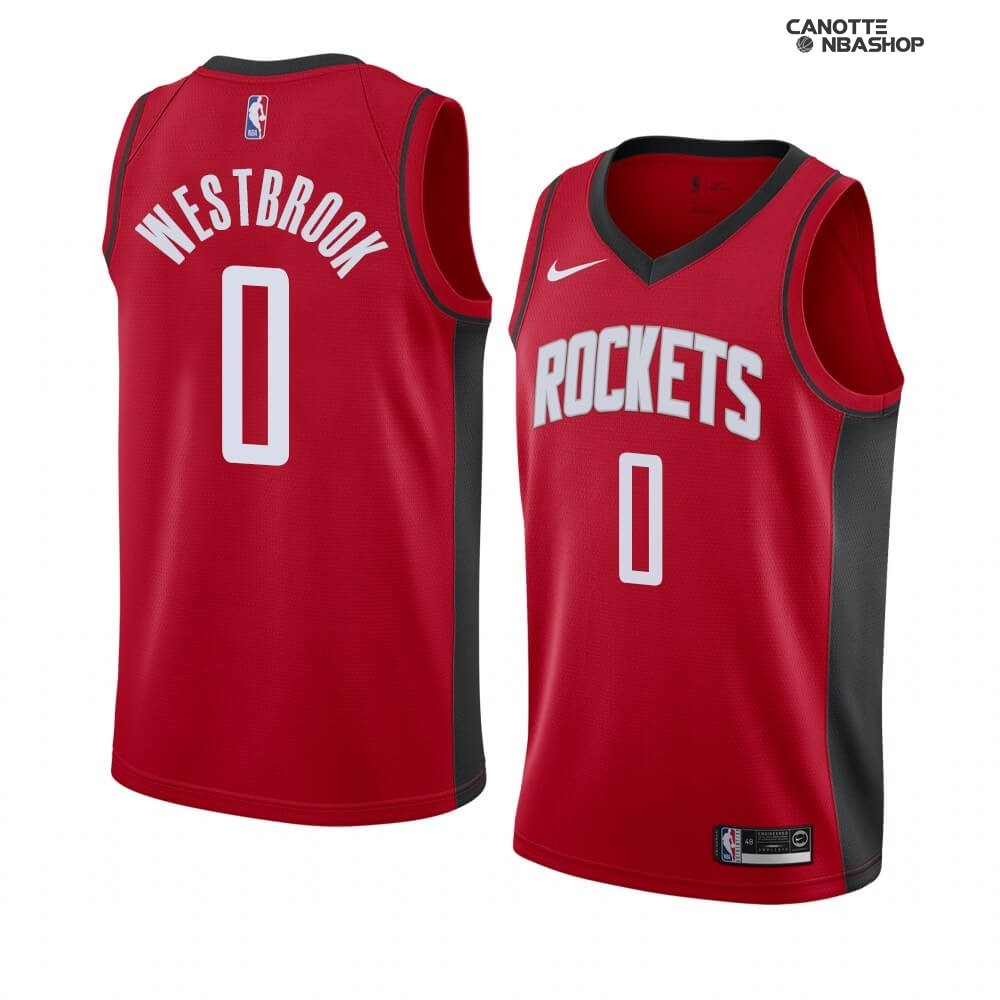 Vendite Maglia NBA Nike Houston Rockets NO.0 Russell Westbrook Rosso Icon 2019-20