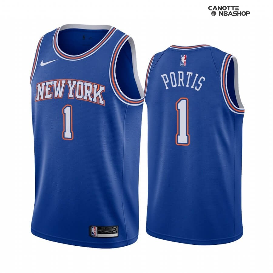Vendite Maglia NBA Nike New York Knicks NO.1 Bobby Portis Blu Statement 2019-20
