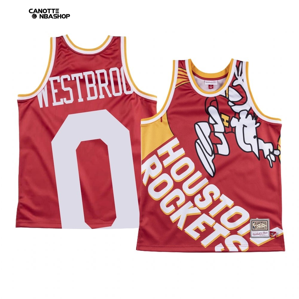Vendite Maglia NBA Houston Rockets Big Face NO.0 Russell Westbrook Rosso