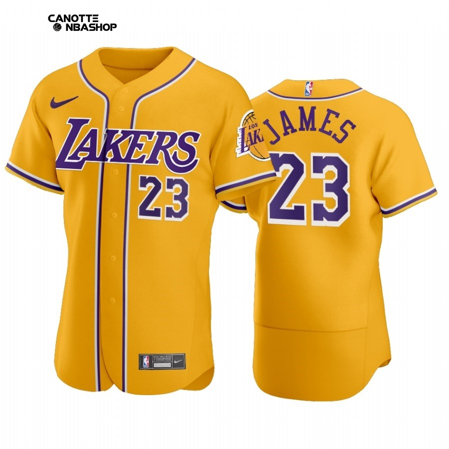Vendite Maglia NBA Lakers x MLB Manica Corta NO.23 Lebron James Amarillo 2020